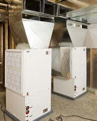 Geothermal homes use heat pumps to take advantage of the constant temperature of geothermal wells under the ground.