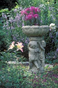 In this garden, although the vegetation is more interesting, the birdbath gives your eye an anchor on which to rest.