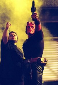 "Left to right: Writer/director Guillermo del Toro and Ron Perlman on the set of ""Hellboy"""