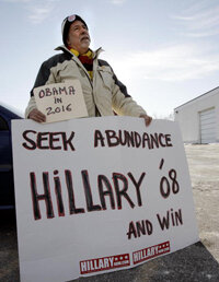 "Clinton has shaped her 2008 campaign message to include her experience, saying she would be ""ready to lead from day one."" This voter in New Hampshire in December 2006 appears to agree."
