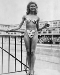 Nude dancer Micheline Bernardini was the only woman willing to model the scandalous new bikini in Paris in 1946.