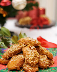 Another Greek food tradition during the holidays are melomakarona or phoenikia, a sweet cookie.