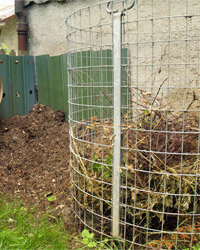 This wire and metal compost bin is a variation on the wire-mesh design we describe. Go for whichever one works for you.