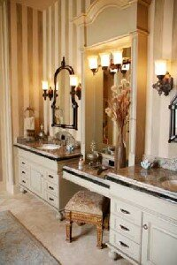 The romantic lighting compliments this luxurious bathroom.