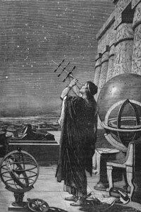 Circa 100 B.C., Greek astronomer Hipparchus, inventor of trigonometry, studies the heavens.