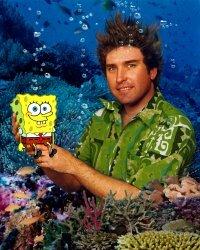 Stephen Hillenburg with his creation, SpongeBob SquarePants.