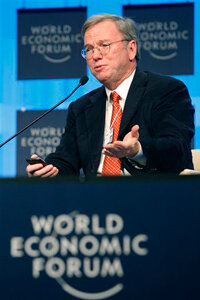 Eric Schmidt, CEO of Google, addresses the World Economic Forum, indicating how important the Internet has become