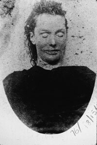The mortuary photo of Elizabeth Stride, one of two prostitutes who were murdered in the Whitechapel district of London on September 30, 1888 by Jack the Ripper.