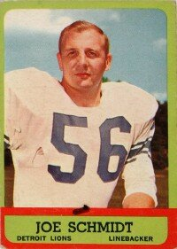 Joe Schmidt was best known as one of football's run stoppers. See more pictures of the greatest football players.