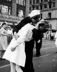 This famous photograph captures a celebratory kiss in New York City's Times Square at the end of World War II.