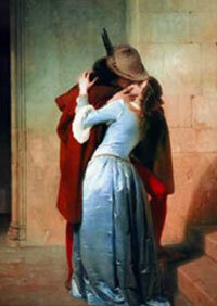 "This painting, called ""Kiss,"" was painted by Francesco Hayez in the 19th century. Before the 19th century, kisses did not appear frequently in Western artwork."