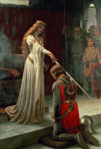 """The Accolade"" by Edmund Blair Leighton. Women, with the exception of a queen, rarely conferred knighthood."