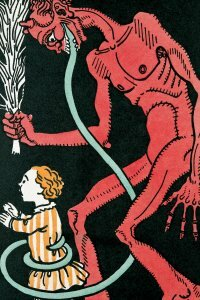 Krampus' tongue as witnessed in a 1911 Viennese greeting card.