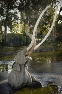 A sculpted mammoth shows visitors at the La Brea Tar Pits what these ancient animal accidents may have looked like.
