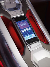 Apple iPhone owners can dock their device into the front console and customize several aspects of the LRX.