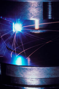 This industrial cutter uses lasers to get the job done.