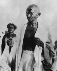 Gandhi during the Salt March to Dandi.