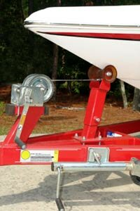A close up shot of a boat trailer's winch