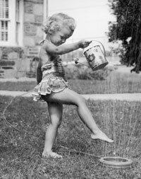 Lawns (and playing on them) first became widespread after World War II and the advent of the suburbs. See pictures of famous gardens.