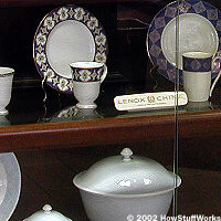 Display of various china patterns in the Lenox lobby. See more Lenox pictures.