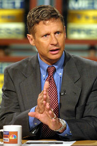 "Then-New Mexico Governor Gary Johnson speaks about drug legalization policy on NBC's ""Meet the Press"" in 2001."
