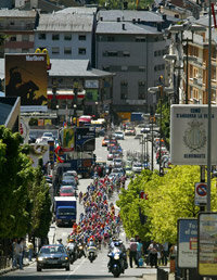 Cyclists competing in the Catalonia Cycling Volta in 2005, pass through Andorra. The tiny nation is home to the population with the highest life expectancy.