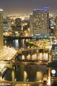The Chicago River is hard to miss, even at dusk.