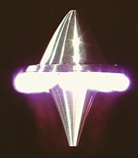 A lightcraft in action. The bright light you see is the air combusting under the rim of the craft.