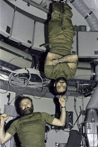 Astronauts Gerald Carr and William Pogue make living in Skylab seem like a cinch.