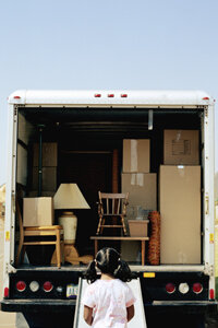 A loading ramp can help make it a bit easier to move heavy furniture into a moving van.