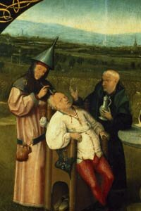 """This detail from Hieronymous Bosch's """"The Cure of Folly"""" references a type of psychosurgery done in his day: trepanning."""