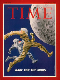 A Time magazine cover from 1968 documented the heated space race between the United States and the Soviet Union.