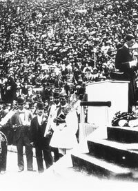 Spiridon Louis receives his gold medal after winning the marathon at the first modern Olympic Games in 1896.