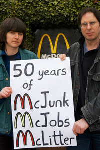 The London Greenpeace protesters behind McLibel, Helen Steel and Dave Morris, protest against McDonald's 50th anniversary celebrations.