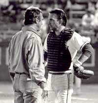 "Moviemaker Ron Shelton (left) and actor Kevin Costner during the making of ""Bull Durham"" at the DAP"