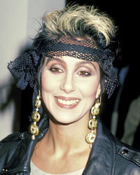 "Cher maintained her biker-chic look for the Los Angeles premier of ""Mask."""