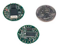 """The MICA2DOT mote, typically powered by a circular """"button"""" battery, is not much bigger than a quarter."""
