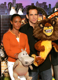 """Press junkets such as this one for """"Madagascar"""" are used to promote films. Jada Pinkett-Smith and Ben Stiller show off some of the tie-ins for the animated film."""