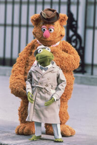 "Fozzie (a live-hand Muppet) and Kermit (hand-and-rod) in ""The Great Muppet Caper"""