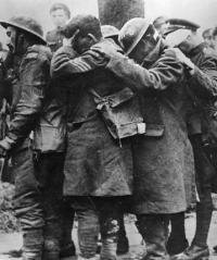 British casualties blinded by mustard gas in a gas attack.