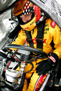 As you can see, there's not much room for bulky radio equipment in a NASCAR race car.