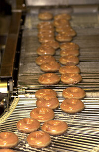 When Krispy Kreme had its IPO on the NASDAQ stock index, shares opened 11 points higher than their offering price.