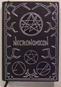 Cover of the Necronomicon book.