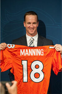 Peyton Manning is introduced as the Denver Broncos quarterback after signing a $96 million, five-year contract with the team in March 2012. Think the Broncos and Manning just split up that money evenly across the five years? Not quite.