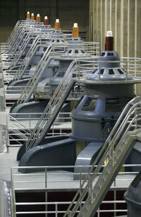 Generators inside the Hoover Dam produce alternating current for Arizona, Nevada and California.