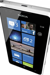 The Windows Phone 7 operating system, featured here on the Nokia Lumia 900, features tiles in lieu of icons to launch apps.
