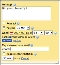 PingMe's user interface lets users send reminders to e-mail services like Gmail.