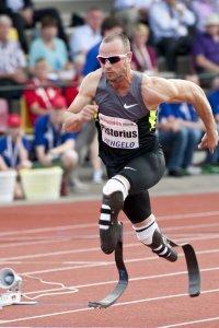 Oscar Pistorius burns up the track at a 2012 IAAF World Challenge meet in Hengelo, Netherlands.