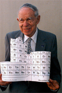 Dr. Glenn Seaborg, the physicist who discovered plutonium and the man behind the element Seaborgium, holds a gift sculpted by a fan. Who says science isn't rewarding!