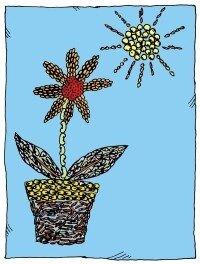 Make a colorful plant mosaic.